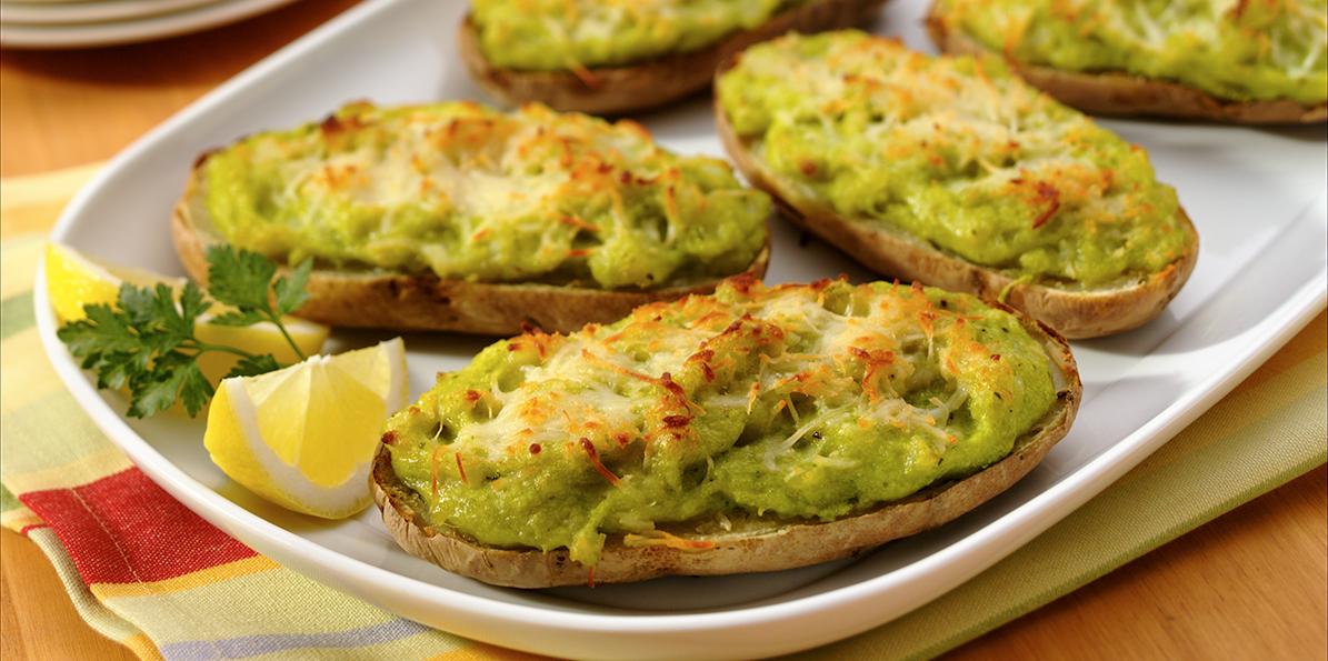 Twice-Baked Potatoes with English Peas   Sargento®