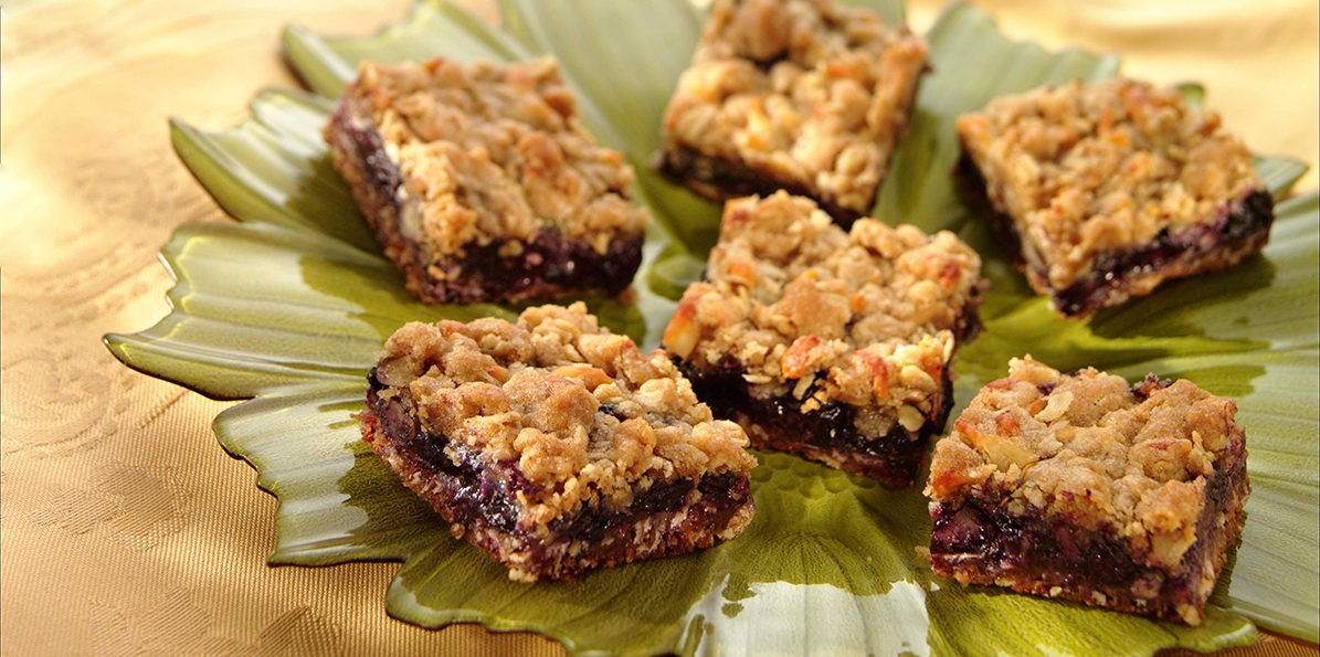 Blueberry and Cheese Streusel Bars